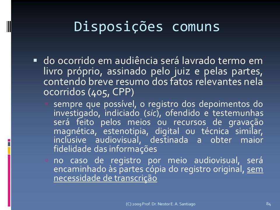 (C) 2009 Prof. Dr. Nestor E. A. Santiago 84 Disposições comuns do ocorrido em audiência será lavrado termo em livro próprio, assinado pelo juiz e pela