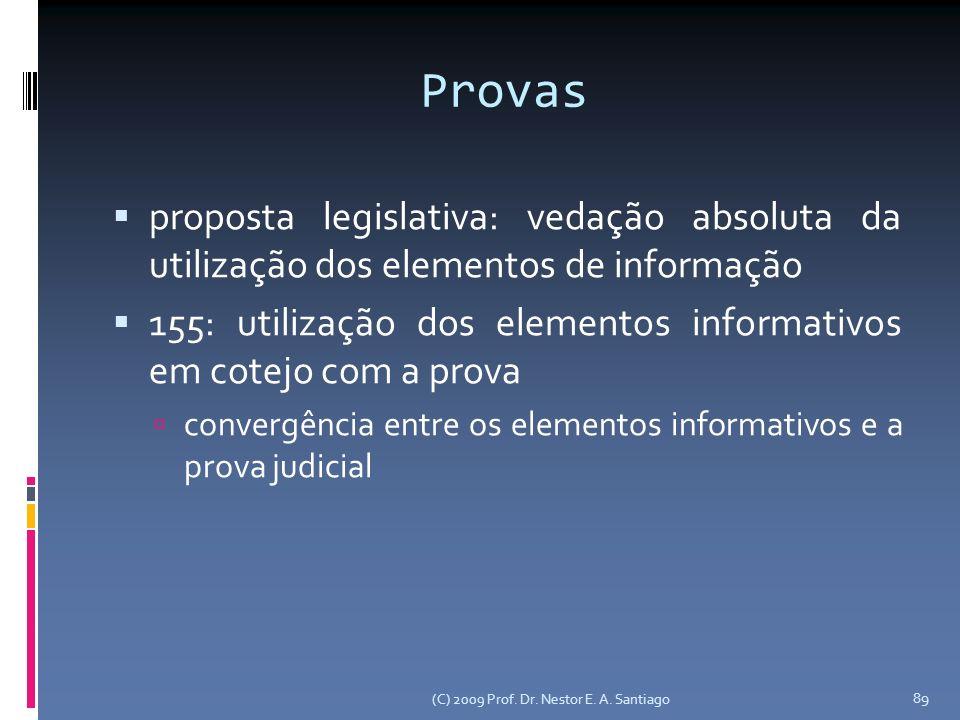 (C) 2009 Prof. Dr. Nestor E. A. Santiago 89 Provas proposta legislativa: vedação absoluta da utilização dos elementos de informação 155: utilização do