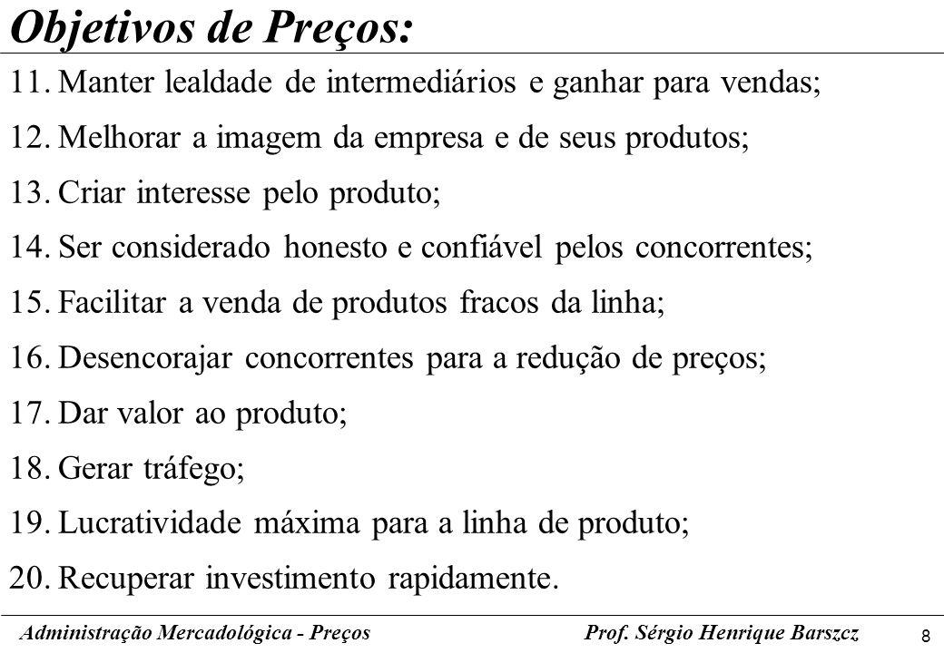 9 Administração Mercadológica - PreçosProf.