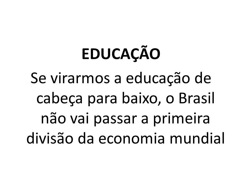 EDUCAÇÃO Se virarmos a educação de cabeça para baixo, o Brasil não vai passar a primeira divisão da economia mundial