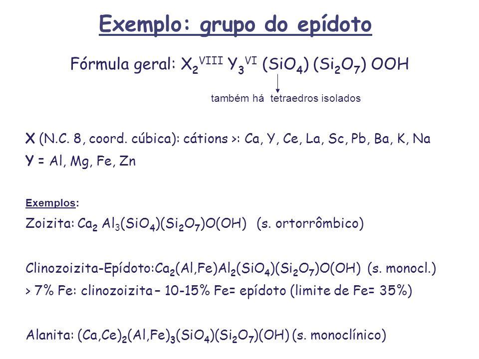 Exemplo: grupo do epídoto Fórmula geral: X 2 VIII Y 3 VI (SiO 4 ) (Si 2 O 7 ) OOH também há tetraedros isolados X (N.C. 8, coord. cúbica): cátions >: