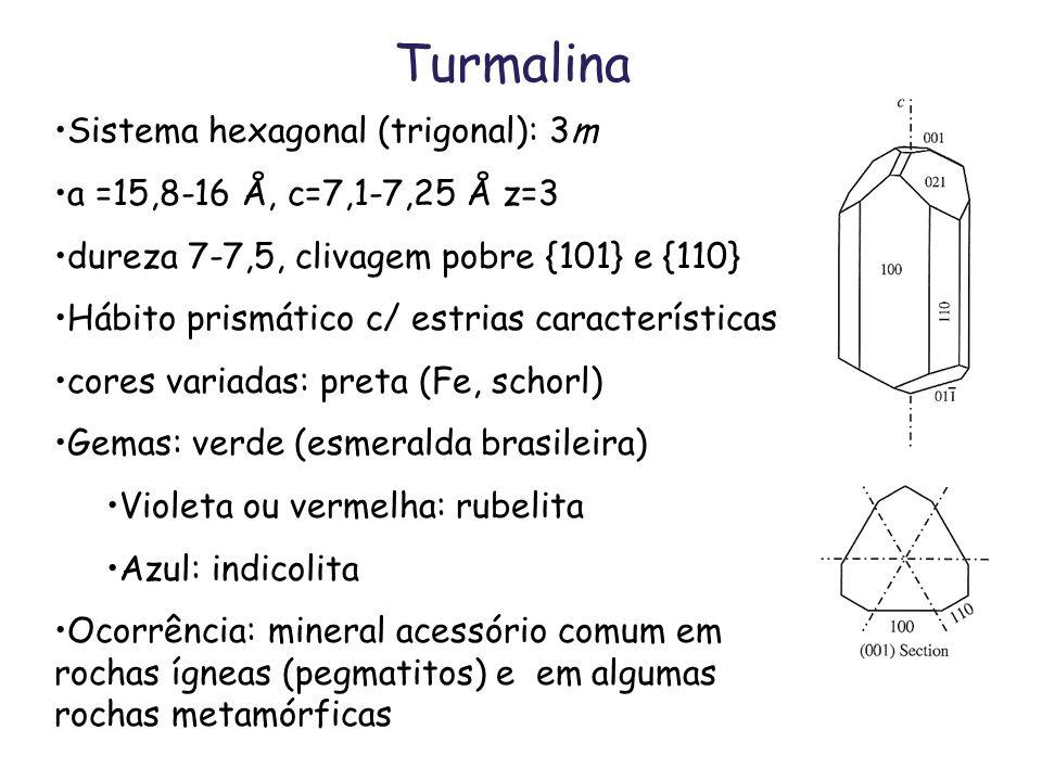 Turmalina Sistema hexagonal (trigonal): 3m a =15,8-16 Å, c=7,1-7,25 Å z=3 dureza 7-7,5, clivagem pobre {101} e {110} Hábito prismático c/ estrias cara