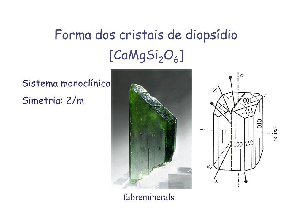 Forma dos cristais de diopsídio [CaMgSi 2 O 6 ] Sistema monoclínico Simetria: 2/m fabreminerals