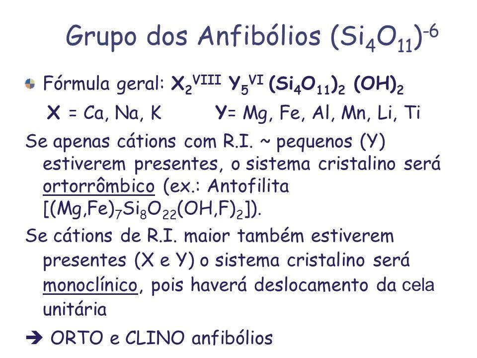 Grupo dos Anfibólios (Si 4 O 11 ) -6 Fórmula geral: X 2 VIII Y 5 VI (Si 4 O 11 ) 2 (OH) 2 X = Ca, Na, KY= Mg, Fe, Al, Mn, Li, Ti Se apenas cátions com