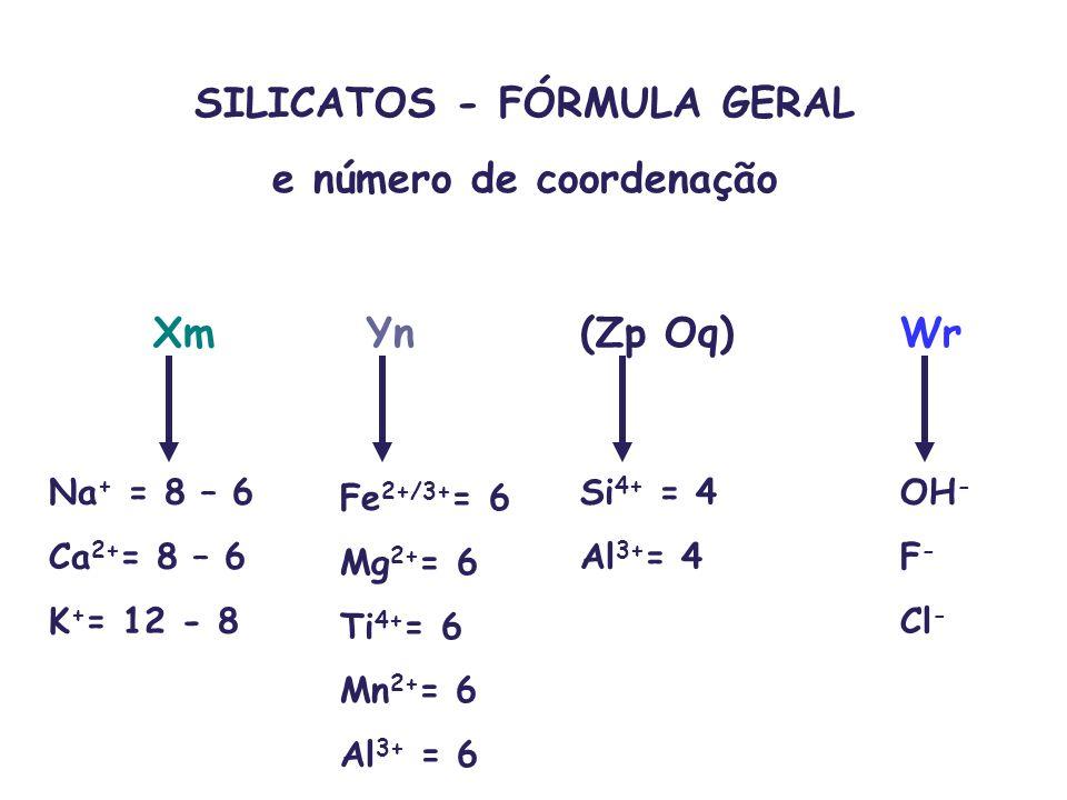 XmYn(Zp Oq)Wr Na + = 8 – 6 Ca 2+ = 8 – 6 K + = 12 - 8 Fe 2+/3+ = 6 Mg 2+ = 6 Ti 4+ = 6 Mn 2+ = 6 Al 3+ = 6 Si 4+ = 4 Al 3+ = 4 OH - F - Cl - SILICATOS