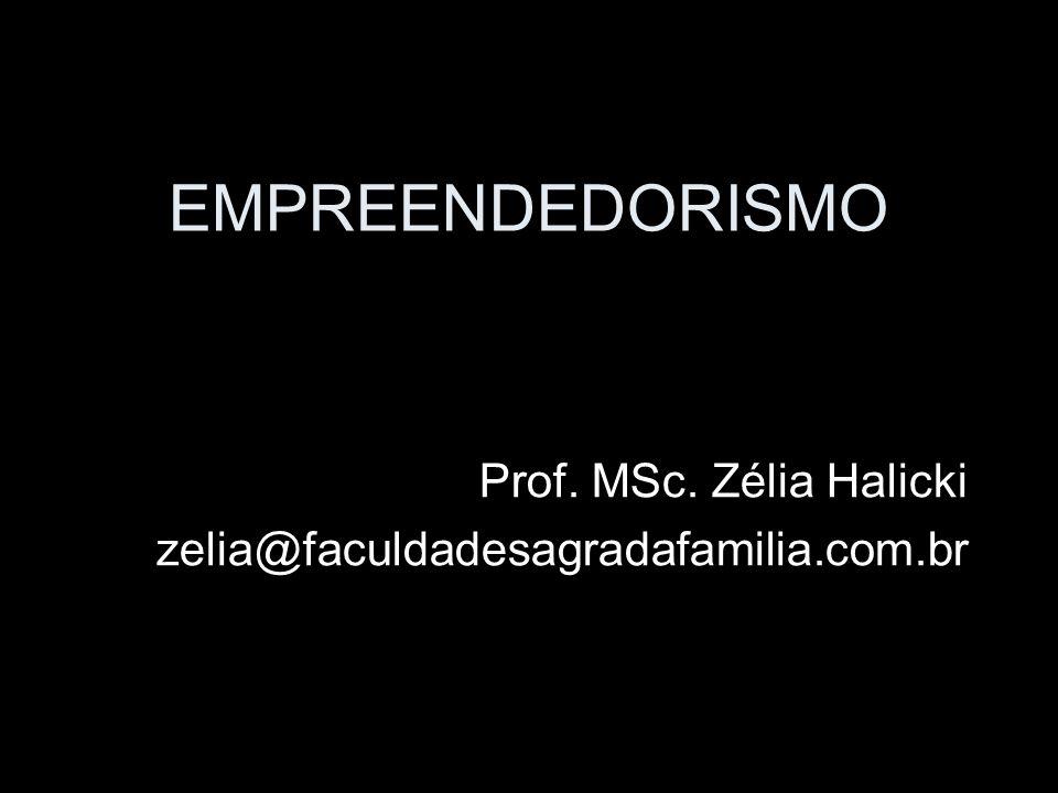 EMPREENDEDORISMO Prof. MSc. Zélia Halicki zelia@faculdadesagradafamilia.com.br