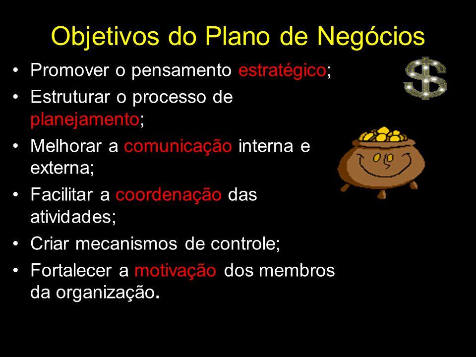 Objetivos do Plano de Negócios Promover o pensamento estratégico; Estruturar o processo de planejamento; Melhorar a comunicação interna e externa; Fac