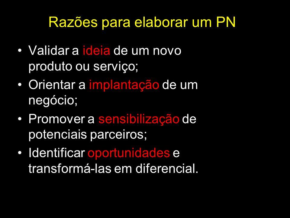Razões para elaborar um PN Validar a ideia de um novo produto ou serviço; Orientar a implantação de um negócio; Promover a sensibilização de potenciai