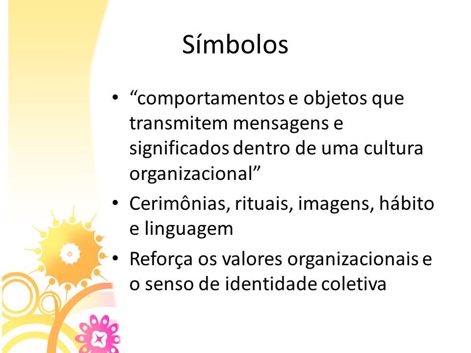 Símbolos comportamentos e objetos que transmitem mensagens e significados dentro de uma cultura organizacional Cerimônias, rituais, imagens, hábito e