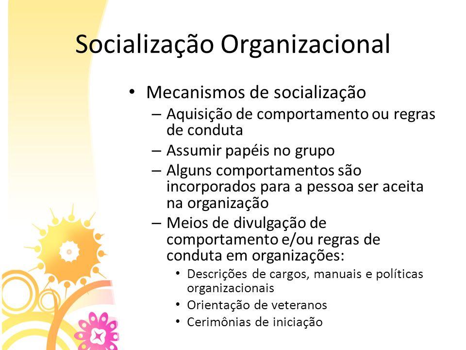 Socialização Organizacional Mecanismos de socialização – Aquisição de comportamento ou regras de conduta – Assumir papéis no grupo – Alguns comportame