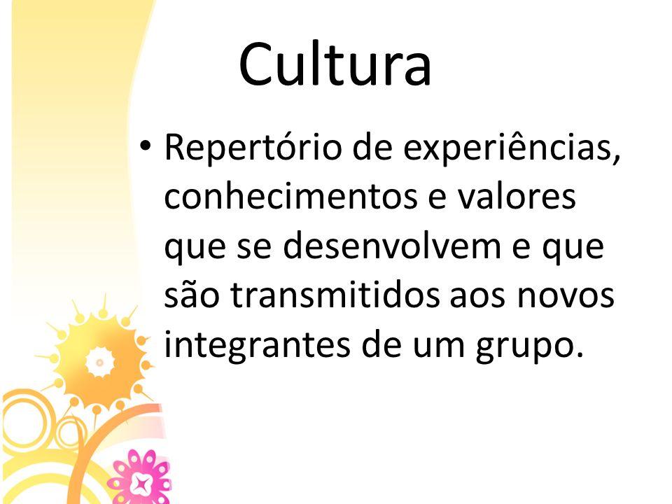 Cultura Repertório de experiências, conhecimentos e valores que se desenvolvem e que são transmitidos aos novos integrantes de um grupo.