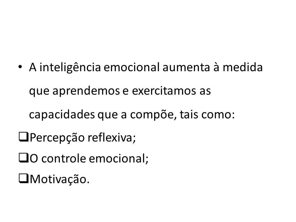 A inteligência emocional aumenta à medida que aprendemos e exercitamos as capacidades que a compõe, tais como: Percepção reflexiva; O controle emocion