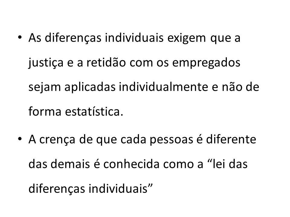 As diferenças individuais exigem que a justiça e a retidão com os empregados sejam aplicadas individualmente e não de forma estatística. A crença de q