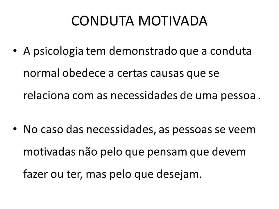 CONDUTA MOTIVADA A psicologia tem demonstrado que a conduta normal obedece a certas causas que se relaciona com as necessidades de uma pessoa. No caso