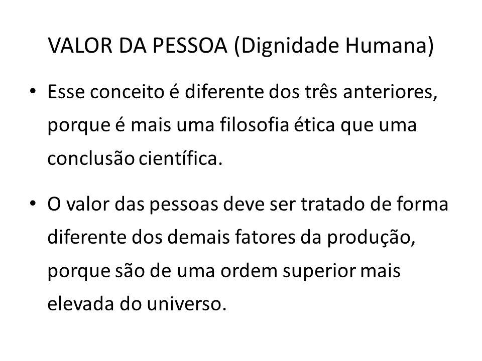 VALOR DA PESSOA (Dignidade Humana) Esse conceito é diferente dos três anteriores, porque é mais uma filosofia ética que uma conclusão científica. O va