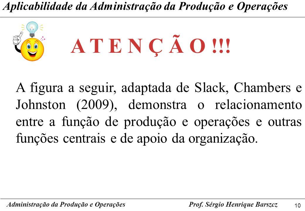 10 Prof. Sérgio Henrique Barszcz A figura a seguir, adaptada de Slack, Chambers e Johnston (2009), demonstra o relacionamento entre a função de produç