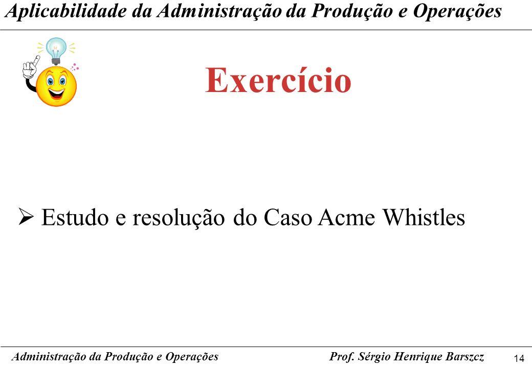14 Prof. Sérgio Henrique Barszcz Aplicabilidade da Administração da Produção e Operações Estudo e resolução do Caso Acme Whistles Administração da Pro