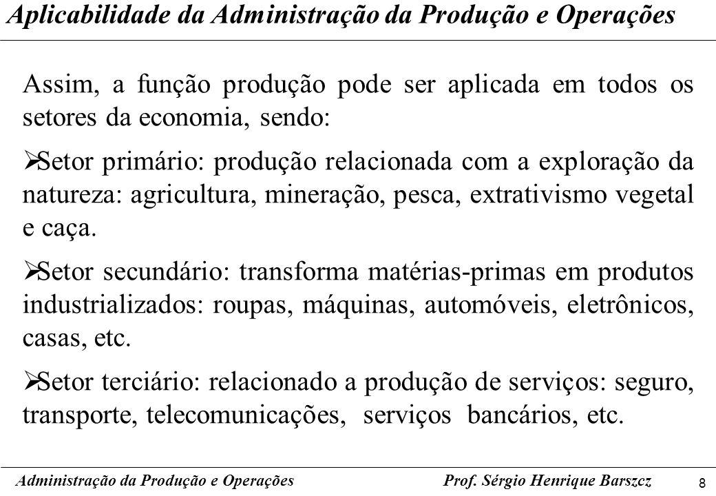 8 Prof. Sérgio Henrique Barszcz Assim, a função produção pode ser aplicada em todos os setores da economia, sendo: Setor primário: produção relacionad