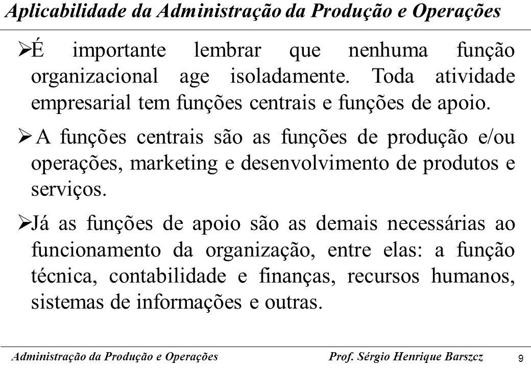 9 Prof. Sérgio Henrique Barszcz É importante lembrar que nenhuma função organizacional age isoladamente. Toda atividade empresarial tem funções centra