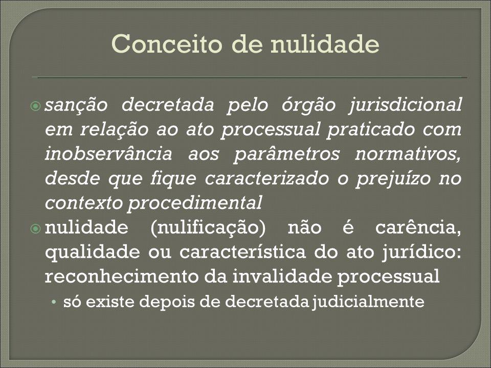 Conceito de nulidade sanção decretada pelo órgão jurisdicional em relação ao ato processual praticado com inobservância aos parâmetros normativos, des