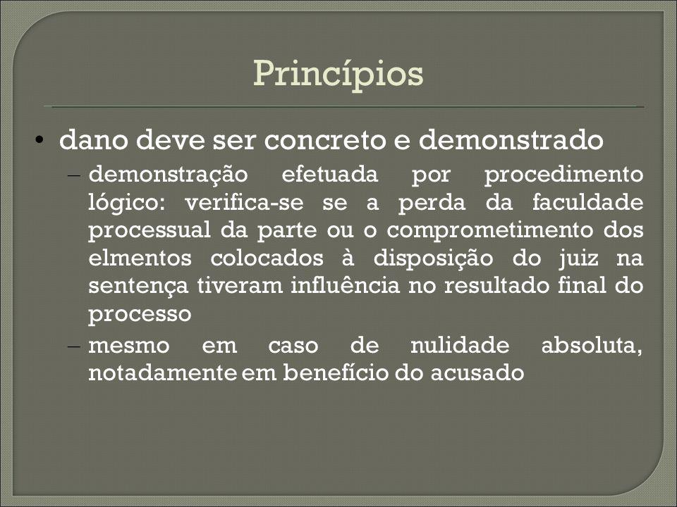 Princípios dano deve ser concreto e demonstrado – demonstração efetuada por procedimento lógico: verifica-se se a perda da faculdade processual da par