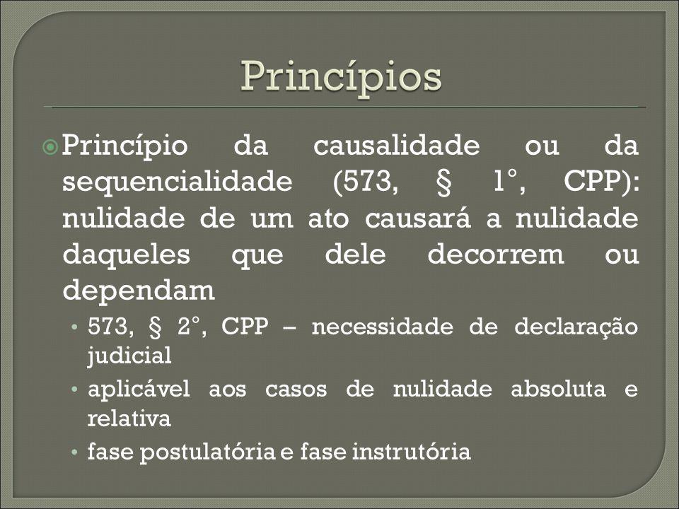 Princípio da causalidade ou da sequencialidade (573, § 1°, CPP): nulidade de um ato causará a nulidade daqueles que dele decorrem ou dependam 573, § 2