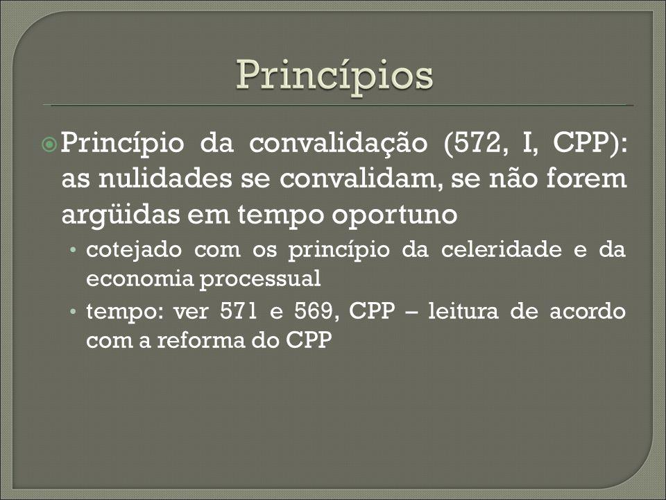 Princípio da convalidação (572, I, CPP): as nulidades se convalidam, se não forem argüidas em tempo oportuno cotejado com os princípio da celeridade e
