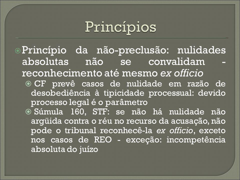 Princípio da não-preclusão: nulidades absolutas não se convalidam - reconhecimento até mesmo ex officio CF prevê casos de nulidade em razão de desobed