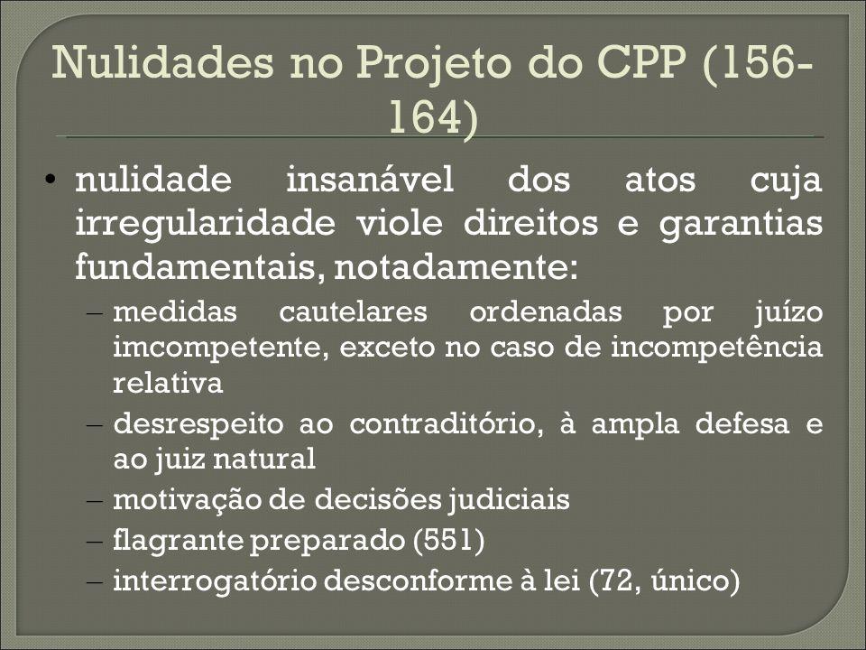 Nulidades no Projeto do CPP (156- 164) nulidade insanável dos atos cuja irregularidade viole direitos e garantias fundamentais, notadamente: – medidas