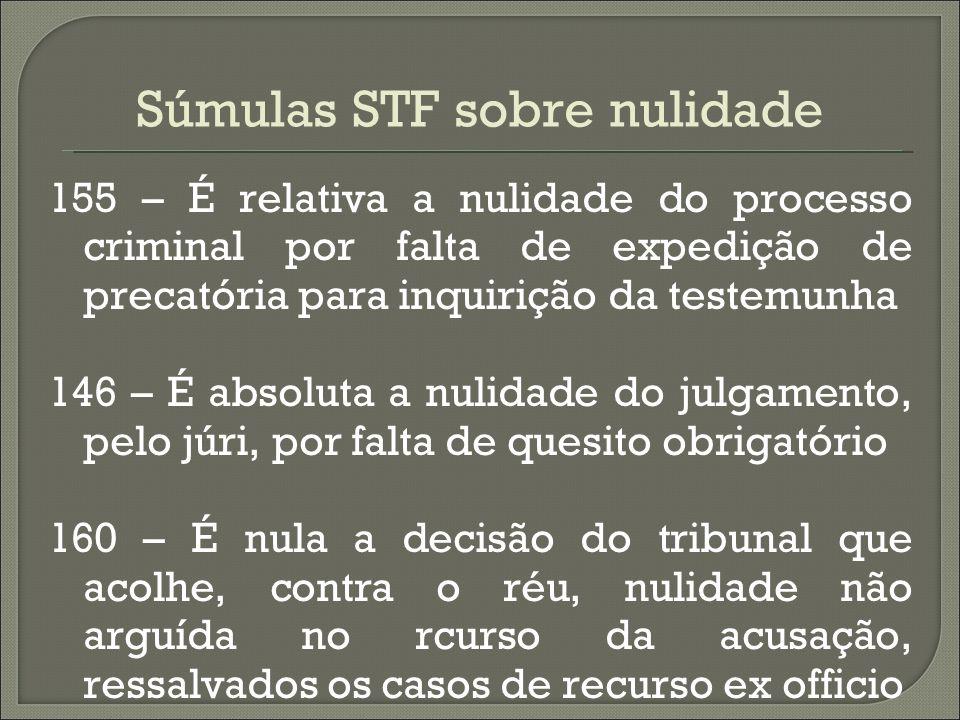 Súmulas STF sobre nulidade 155 – É relativa a nulidade do processo criminal por falta de expedição de precatória para inquirição da testemunha 146 – É