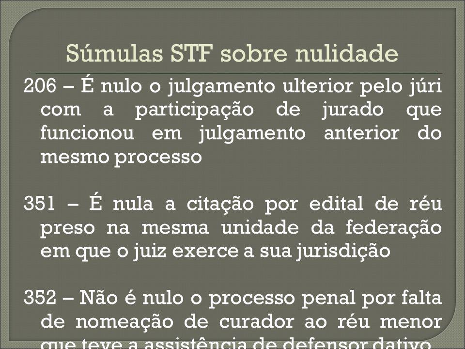 Súmulas STF sobre nulidade 206 – É nulo o julgamento ulterior pelo júri com a participação de jurado que funcionou em julgamento anterior do mesmo pro