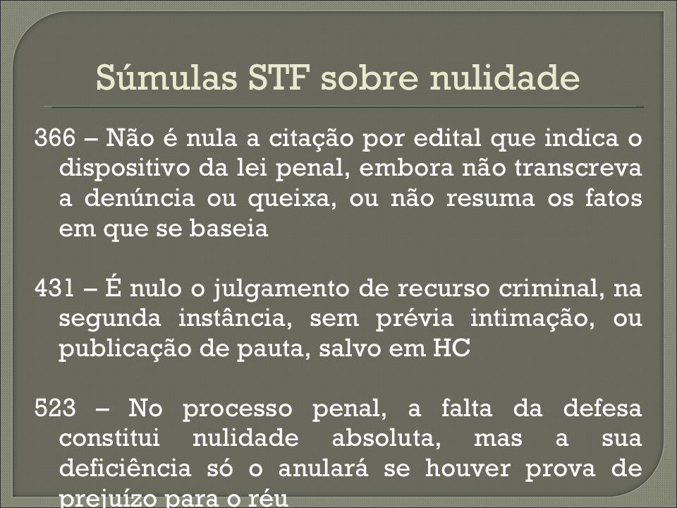 Súmulas STF sobre nulidade 366 – Não é nula a citação por edital que indica o dispositivo da lei penal, embora não transcreva a denúncia ou queixa, ou