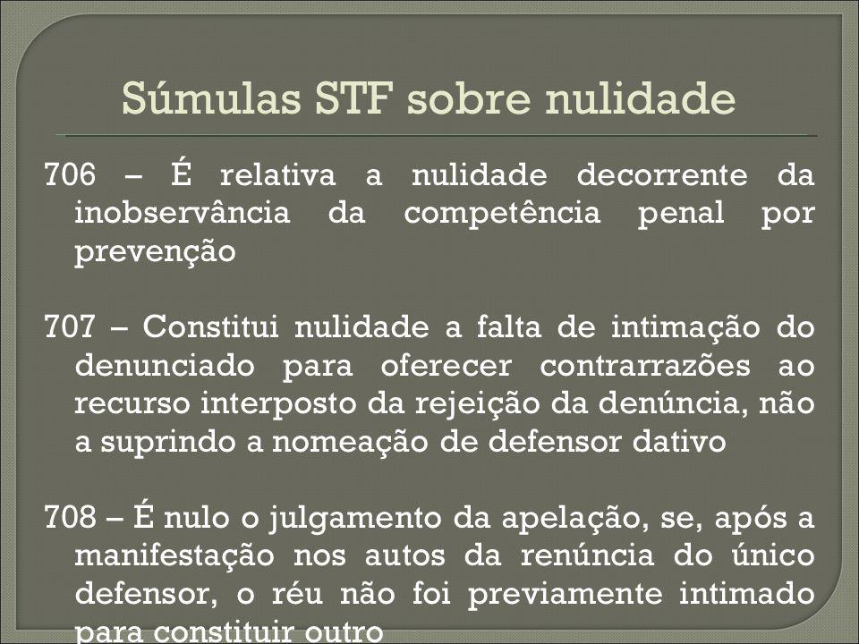 Súmulas STF sobre nulidade 706 – É relativa a nulidade decorrente da inobservância da competência penal por prevenção 707 – Constitui nulidade a falta