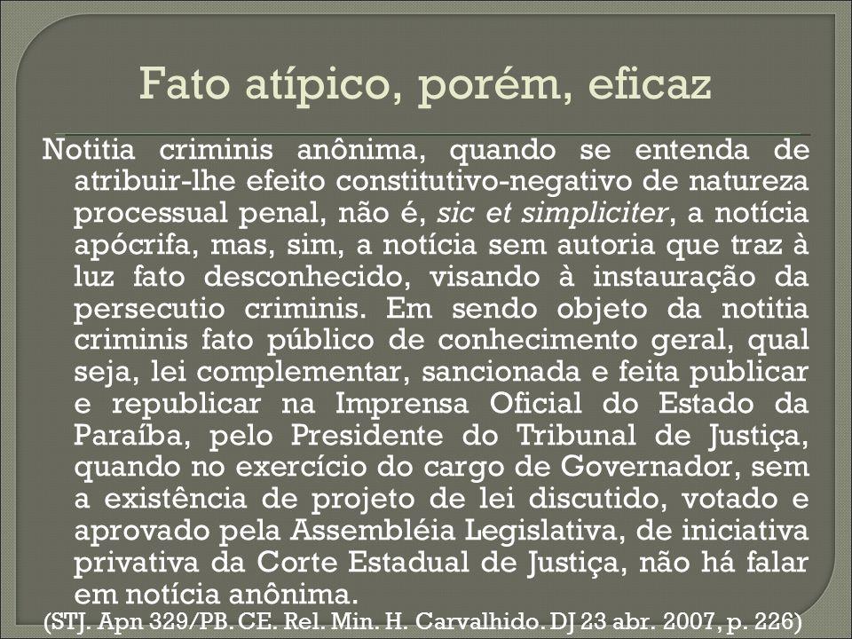 Fato atípico, porém, eficaz Notitia criminis anônima, quando se entenda de atribuir-lhe efeito constitutivo-negativo de natureza processual penal, não