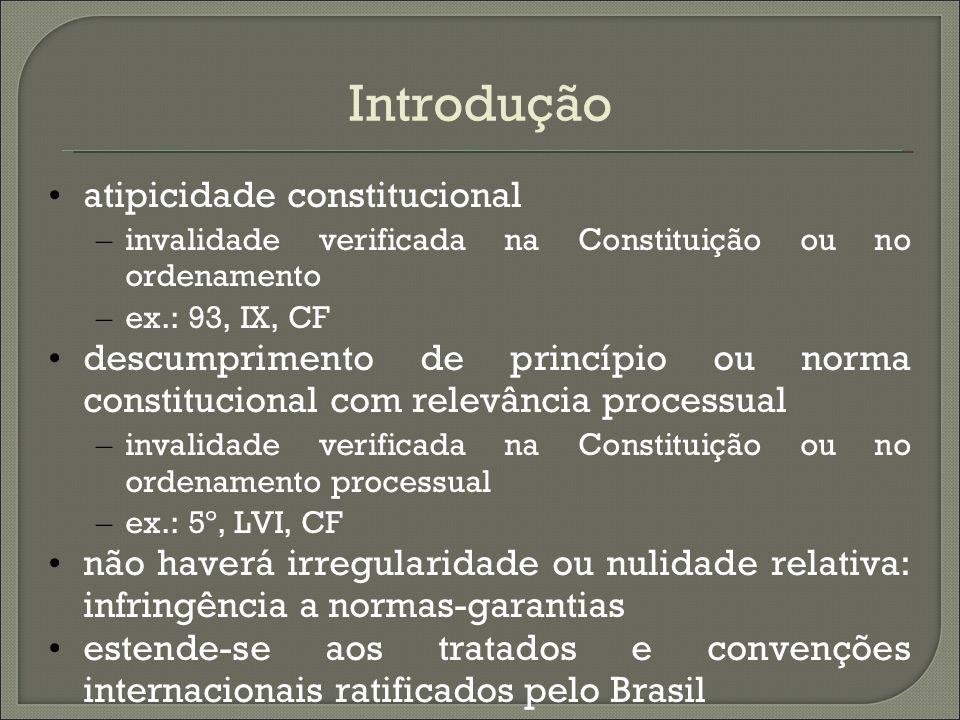 Introdução atipicidade constitucional – invalidade verificada na Constituição ou no ordenamento – ex.: 93, IX, CF descumprimento de princípio ou norma