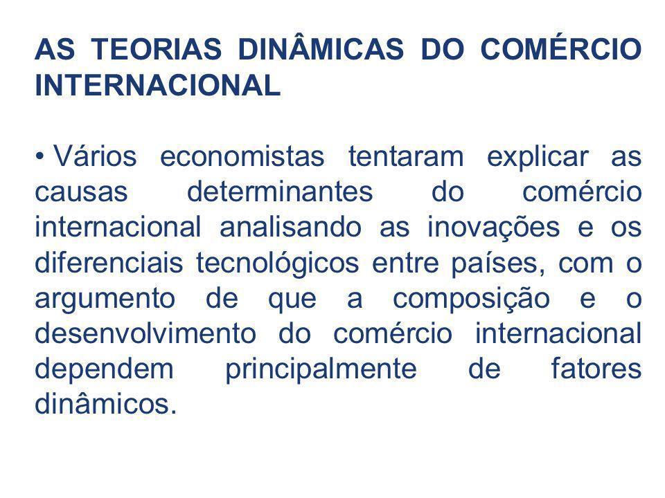 AS TEORIAS DINÂMICAS DO COMÉRCIO INTERNACIONAL Vários economistas tentaram explicar as causas determinantes do comércio internacional analisando as in