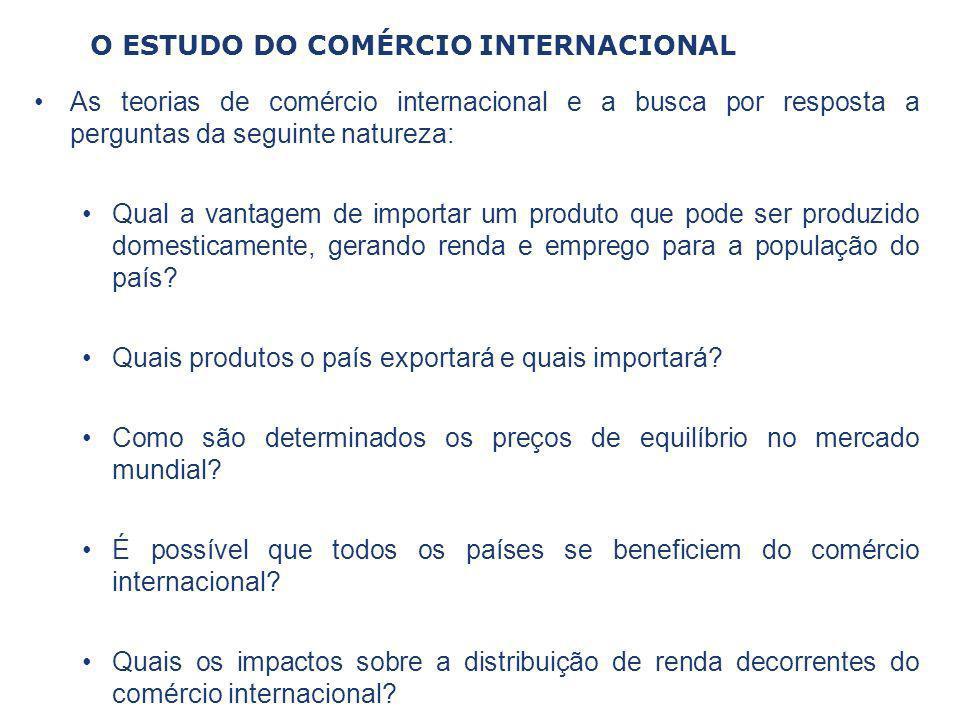 O ESTUDO DO COMÉRCIO INTERNACIONAL As teorias de comércio internacional e a busca por resposta a perguntas da seguinte natureza: Qual a vantagem de im