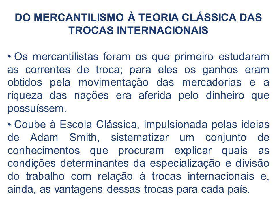 DO MERCANTILISMO À TEORIA CLÁSSICA DAS TROCAS INTERNACIONAIS Os mercantilistas foram os que primeiro estudaram as correntes de troca; para eles os gan