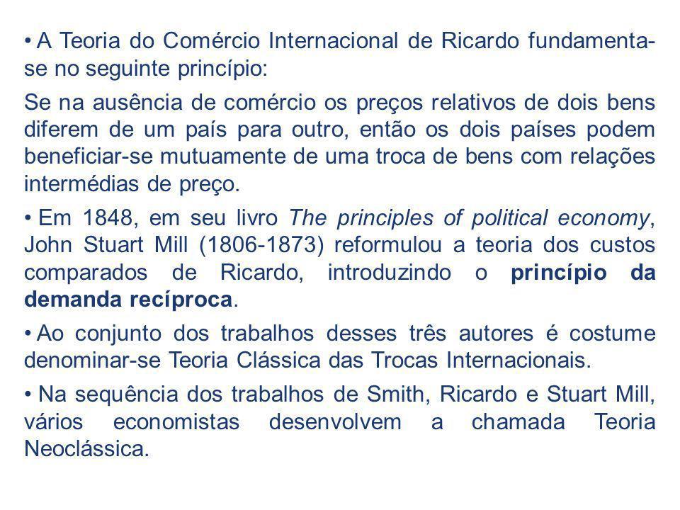 A Teoria do Comércio Internacional de Ricardo fundamenta- se no seguinte princípio: Se na ausência de comércio os preços relativos de dois bens difere