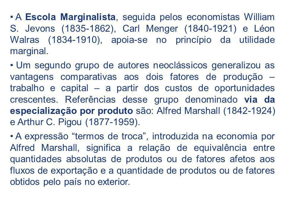 A Escola Marginalista, seguida pelos economistas William S. Jevons (1835-1862), Carl Menger (1840-1921) e Léon Walras (1834-1910), apoia-se no princíp