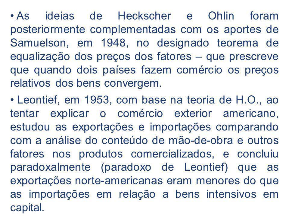 As ideias de Heckscher e Ohlin foram posteriormente complementadas com os aportes de Samuelson, em 1948, no designado teorema de equalização dos preço