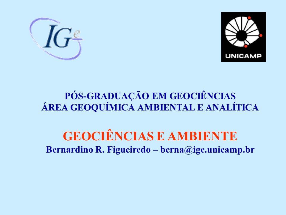 PÓS-GRADUAÇÃO EM GEOCIÊNCIAS ÁREA GEOQUÍMICA AMBIENTAL E ANALÍTICA GEOCIÊNCIAS E AMBIENTE Bernardino R. Figueiredo – berna@ige.unicamp.br