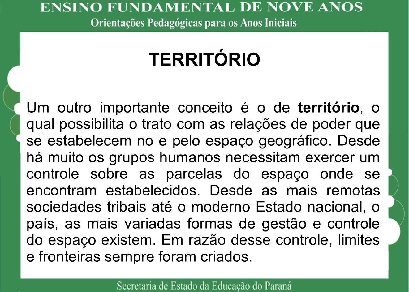 TERRITÓRIO Um outro importante conceito é o de território, o qual possibilita o trato com as relações de poder que se estabelecem no e pelo espaço geográfico.