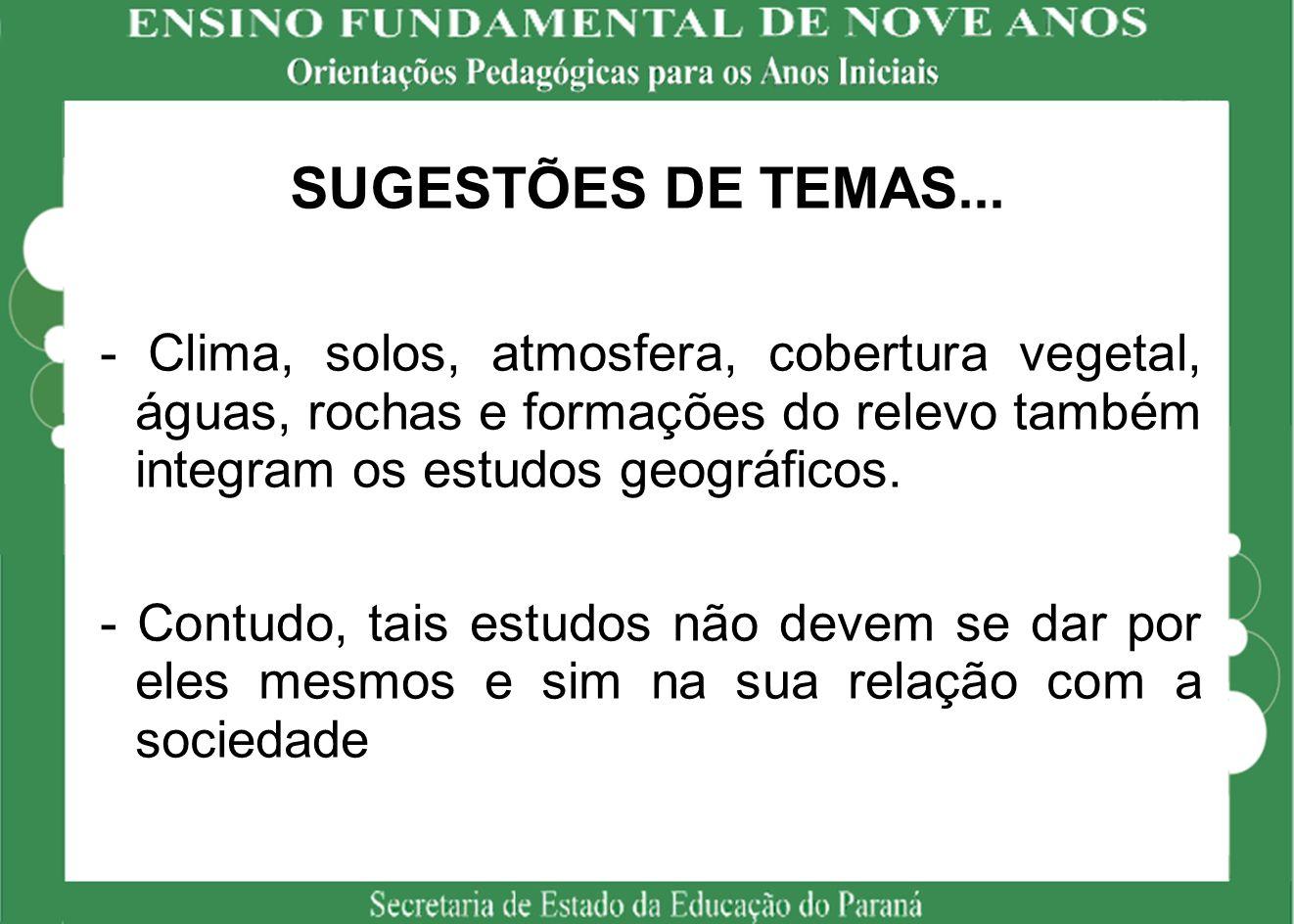 SUGESTÕES DE TEMAS...