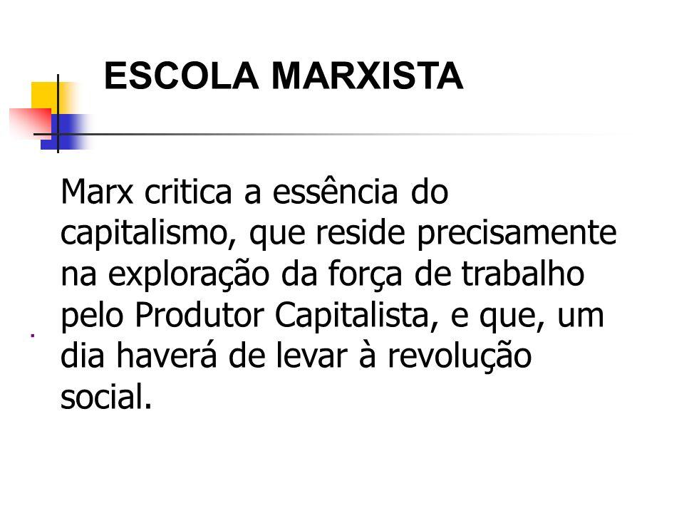 ESCOLA MARXISTA. Marx critica a essência do capitalismo, que reside precisamente na exploração da força de trabalho pelo Produtor Capitalista, e que,