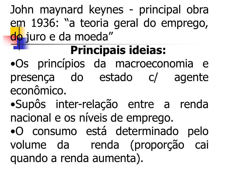 John maynard keynes - principal obra em 1936: a teoria geral do emprego, do juro e da moeda Principais ideias: Os princípios da macroeconomia e presen
