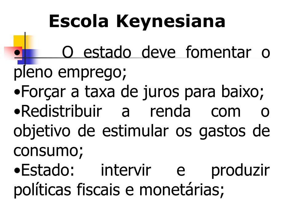 O estado deve fomentar o pleno emprego; Forçar a taxa de juros para baixo; Redistribuir a renda com o objetivo de estimular os gastos de consumo; Esta