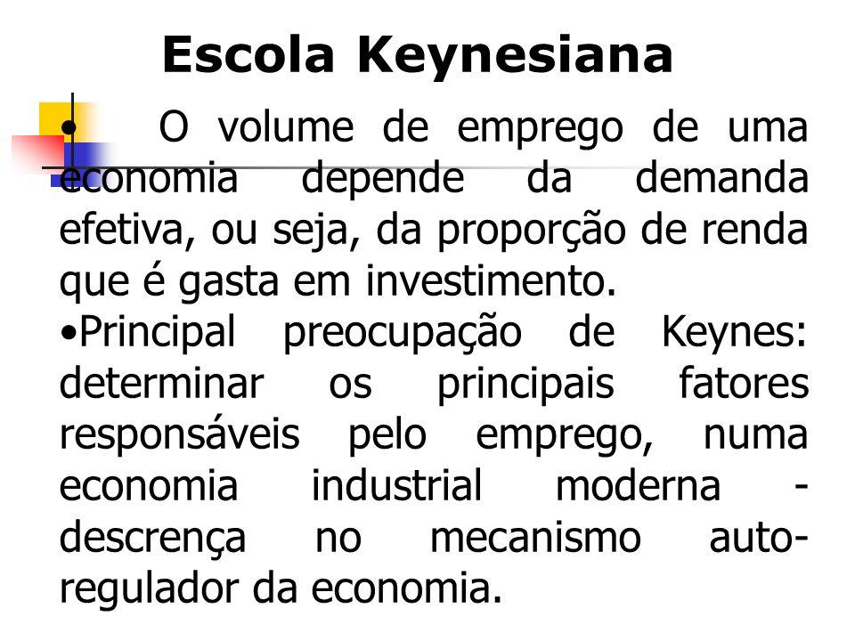 O volume de emprego de uma economia depende da demanda efetiva, ou seja, da proporção de renda que é gasta em investimento. Principal preocupação de K