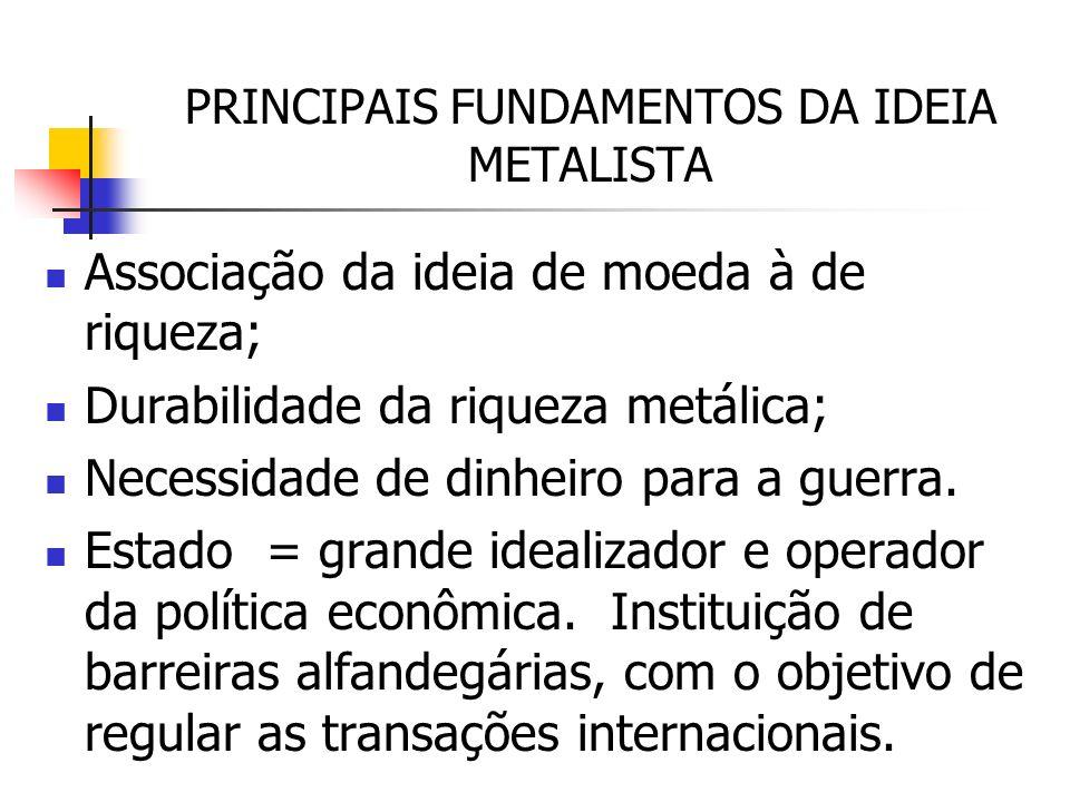 PRINCIPAIS FUNDAMENTOS DA IDEIA METALISTA Associação da ideia de moeda à de riqueza; Durabilidade da riqueza metálica; Necessidade de dinheiro para a