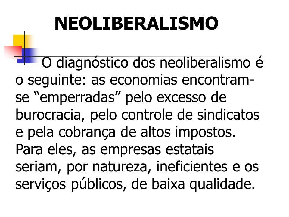 O diagnóstico dos neoliberalismo é o seguinte: as economias encontram- se emperradas pelo excesso de burocracia, pelo controle de sindicatos e pela co